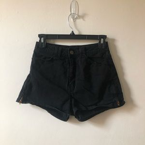 American Apparel Black Side Zip Shorts